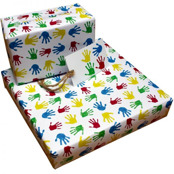 birthday wrapping paper_handprints