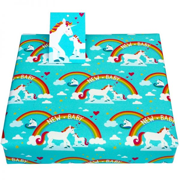 new baby wrapping paper_unicorns